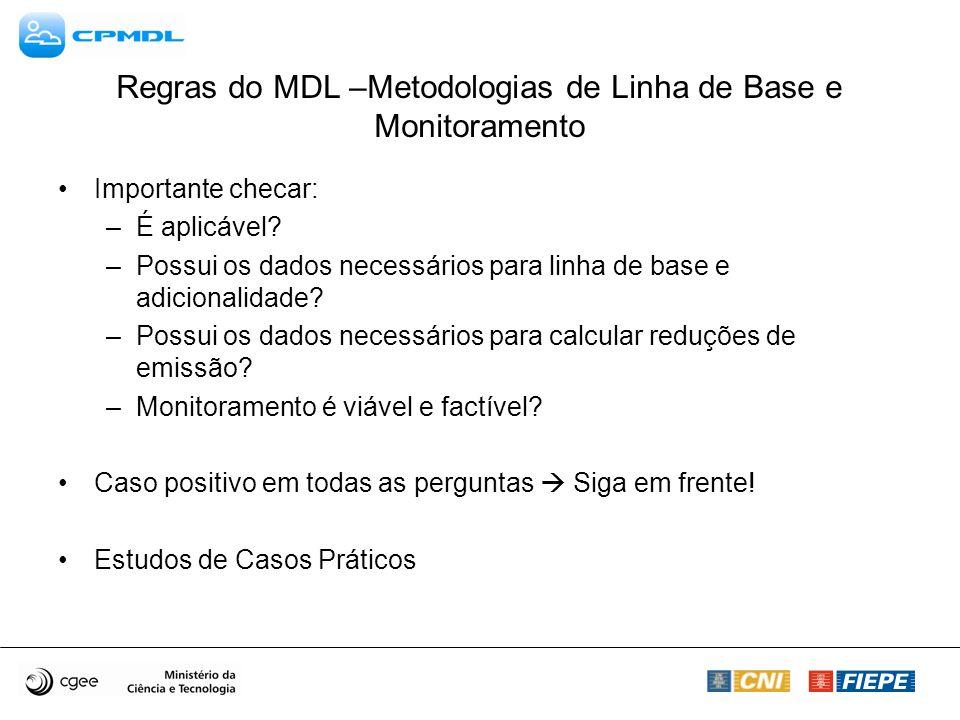 Regras do MDL –Metodologias de Linha de Base e Monitoramento Importante checar: –É aplicável.