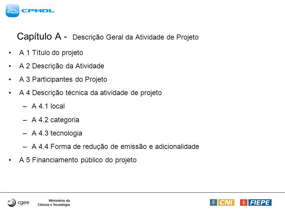 A 1 Título do projeto A 2 Descrição da Atividade A 3 Participantes do Projeto A 4 Descrição técnica da atividade de projeto –A 4.1 local –A 4.2 catego
