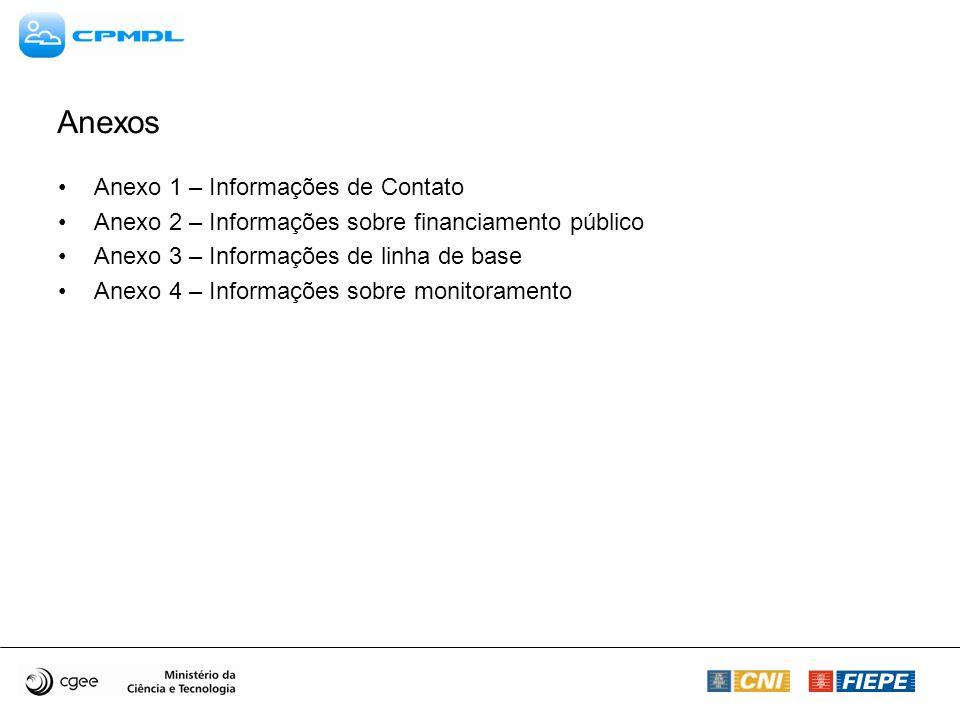 Anexos Anexo 1 – Informações de Contato Anexo 2 – Informações sobre financiamento público Anexo 3 – Informações de linha de base Anexo 4 – Informações sobre monitoramento