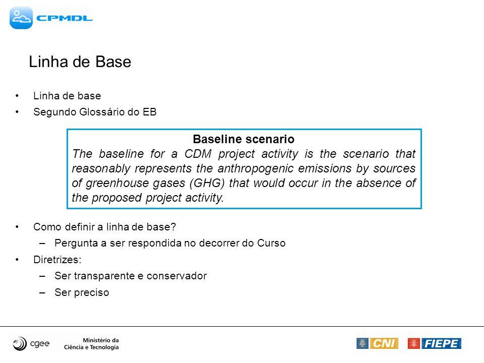 Linha de base Segundo Glossário do EB Como definir a linha de base? –Pergunta a ser respondida no decorrer do Curso Diretrizes: –Ser transparente e co