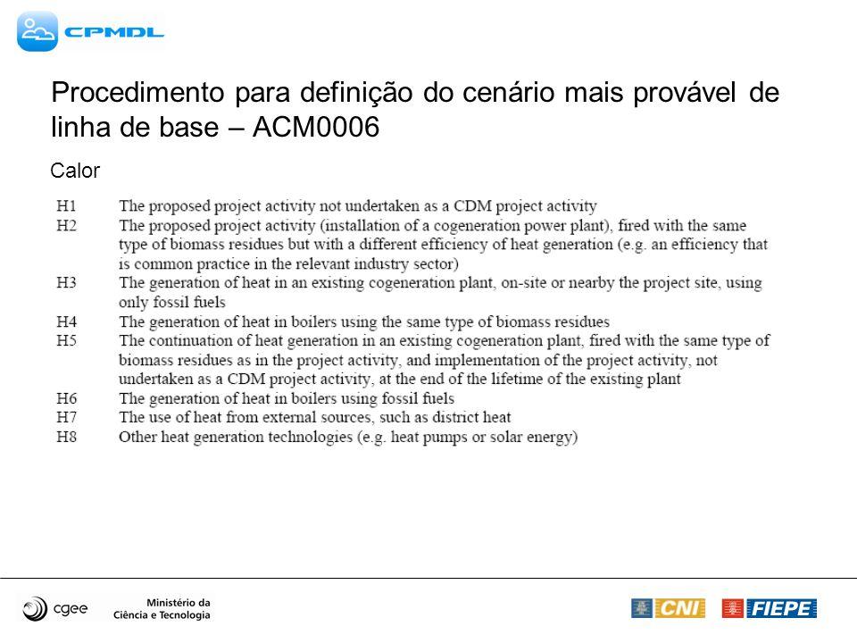Procedimento para definição do cenário mais provável de linha de base – ACM0006 Calor
