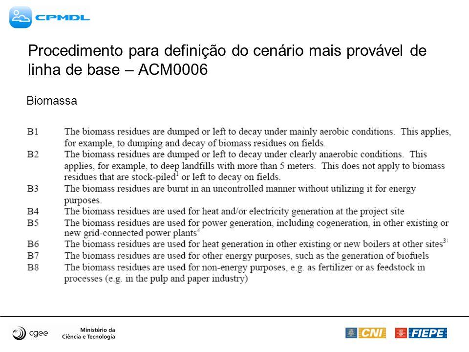 Procedimento para definição do cenário mais provável de linha de base – ACM0006 Biomassa