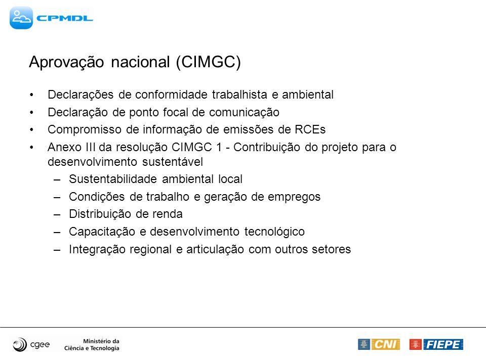 Aprovação nacional (CIMGC) Declarações de conformidade trabalhista e ambiental Declaração de ponto focal de comunicação Compromisso de informação de e