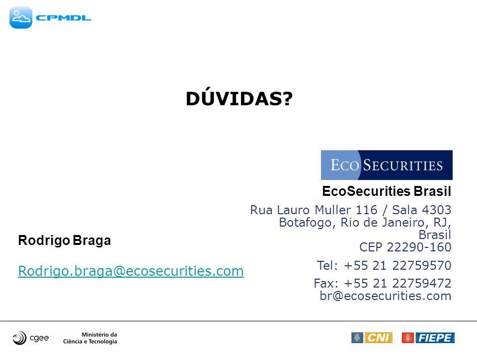 EcoSecurities Brasil Rua Lauro Muller 116 / Sala 4303 Botafogo, Rio de Janeiro, RJ, Brasil CEP 22290-160 Tel: +55 21 22759570 Fax: +55 21 22759472 br@