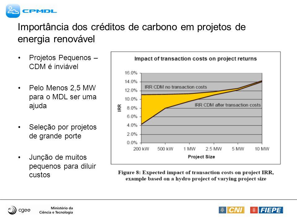 Importância dos créditos de carbono em projetos de energia renovável Projetos Pequenos – CDM é inviável Pelo Menos 2,5 MW para o MDL ser uma ajuda Sel