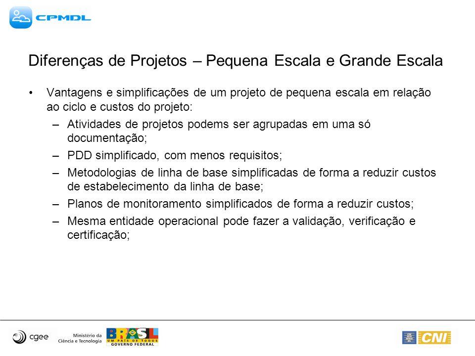 Metodologias Aprovadas – Grande Escala Outras metodologias –AM0013 – Avoided methane emissions from organic waste-water treatment – Version 3 (http://cdm.unfccc.int/UserManagement/FileStorage/CDMWF_AM_TUXV2ZCTQVGAZTGOK EJZK88YMRMRCR):http://cdm.unfccc.int/UserManagement/FileStorage/CDMWF_AM_TUXV2ZCTQVGAZTGOK EJZK88YMRMRCR Metodologia aplicável para substituição de sistema de tratamentos existentes compostos de lagoas abertas anaeróbicas; Cálculos baseados em DQO e vazão do efluente.
