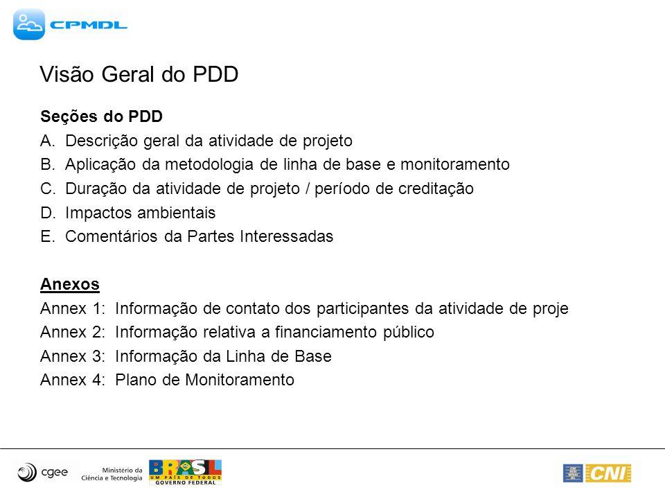 Seções do PDD A. Descrição geral da atividade de projeto B.