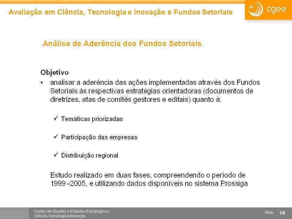 Centro de Gestão e Estudos Estratégicos Ciência, Tecnologia e Inovação Slide 19 Avaliação em Ciência, Tecnologia e Inovação e Fundos Setoriais
