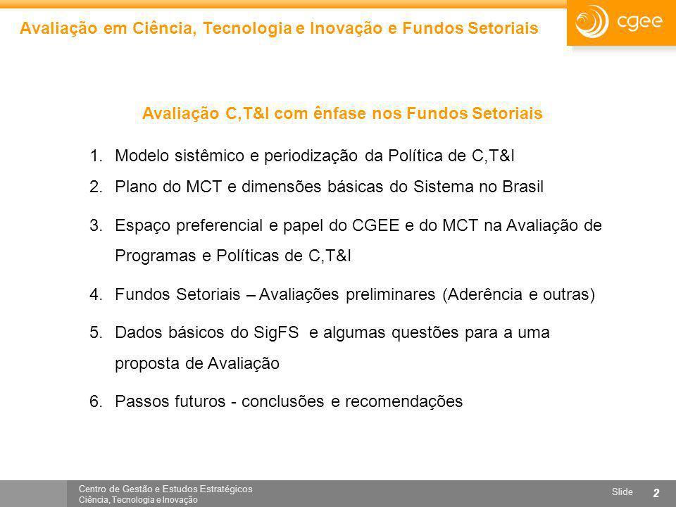 Centro de Gestão e Estudos Estratégicos Ciência, Tecnologia e Inovação Slide 2 Avaliação em Ciência, Tecnologia e Inovação e Fundos Setoriais Avaliaçã