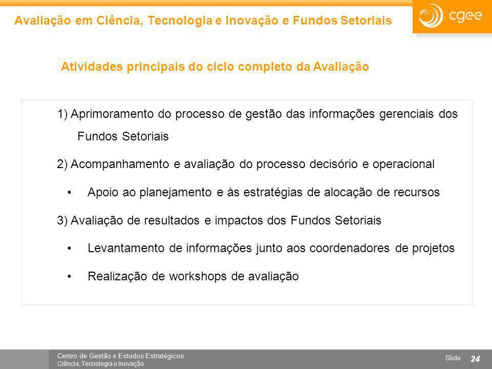 Centro de Gestão e Estudos Estratégicos Ciência, Tecnologia e Inovação Slide 24 Avaliação em Ciência, Tecnologia e Inovação e Fundos Setoriais Ativida