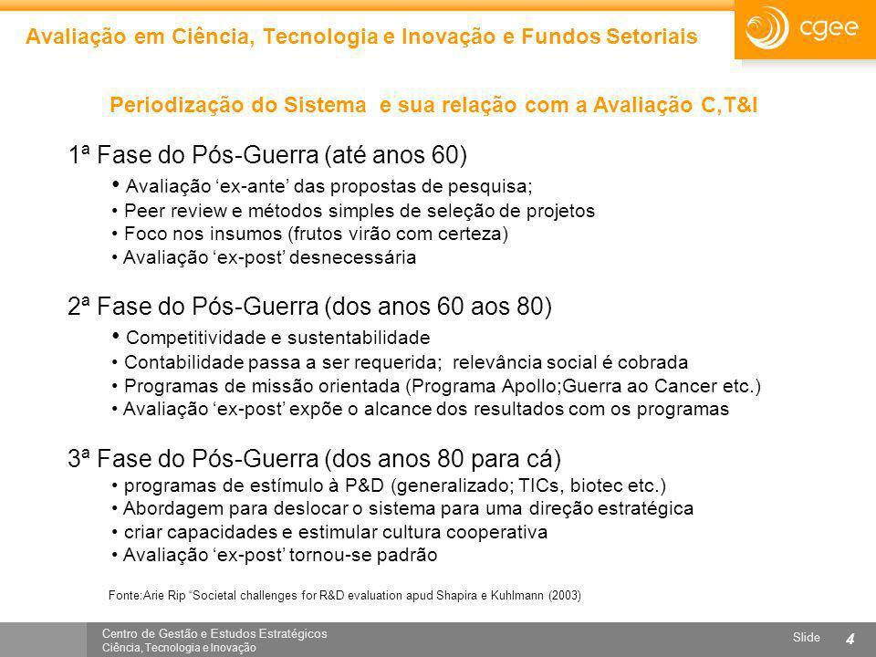 Centro de Gestão e Estudos Estratégicos Ciência, Tecnologia e Inovação Slide 4 Avaliação em Ciência, Tecnologia e Inovação e Fundos Setoriais Periodiz