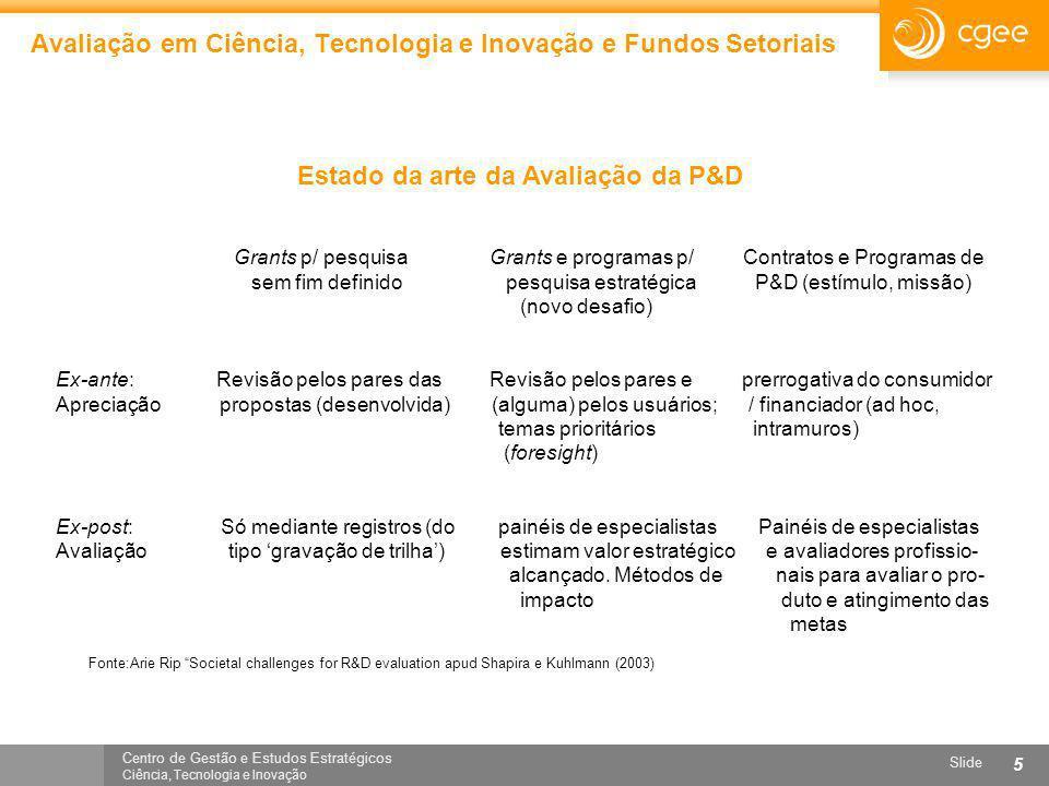 Centro de Gestão e Estudos Estratégicos Ciência, Tecnologia e Inovação Slide 5 Avaliação em Ciência, Tecnologia e Inovação e Fundos Setoriais Grants p