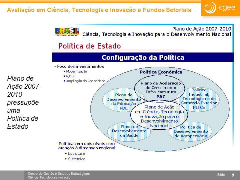 Centro de Gestão e Estudos Estratégicos Ciência, Tecnologia e Inovação Slide 9 Avaliação em Ciência, Tecnologia e Inovação e Fundos Setoriais Plano de
