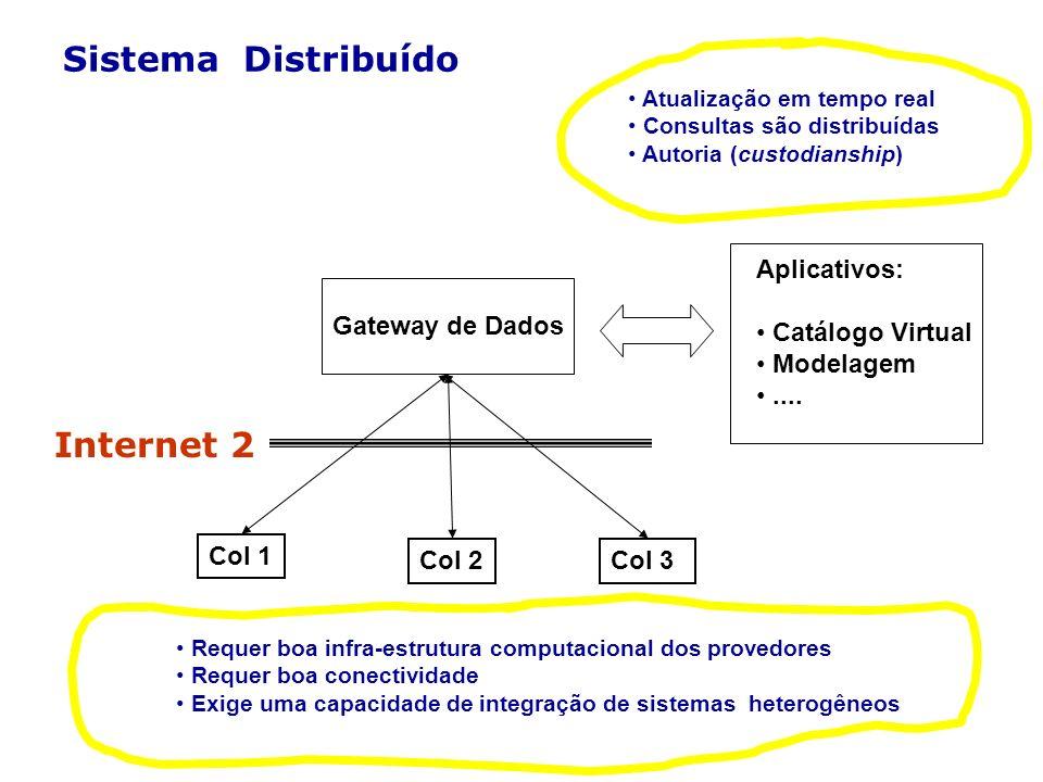 Sistema Distribuído Gateway de Dados Aplicativos: Catálogo Virtual Modelagem.... Col 1 Col 2Col 3 Internet 2 Requer boa infra-estrutura computacional