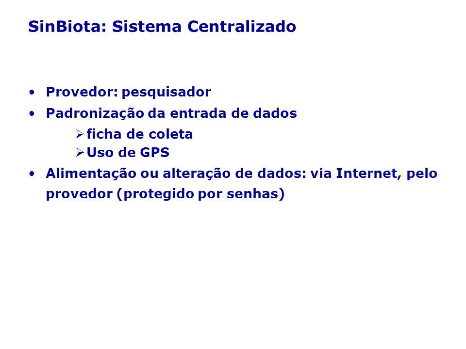 SinBiota: Sistema Centralizado Provedor: pesquisador Padronização da entrada de dados ficha de coleta Uso de GPS Alimentação ou alteração de dados: vi