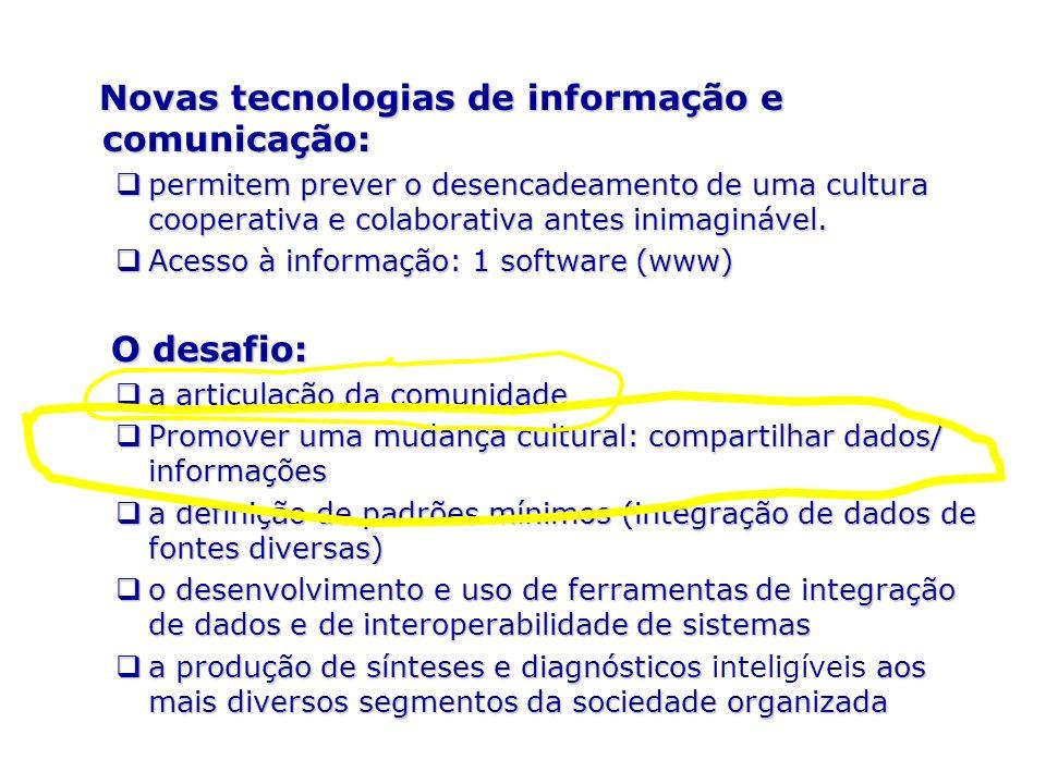 Novas tecnologias de informação e comunicação: Novas tecnologias de informação e comunicação: permitem prever o desencadeamento de uma cultura coopera