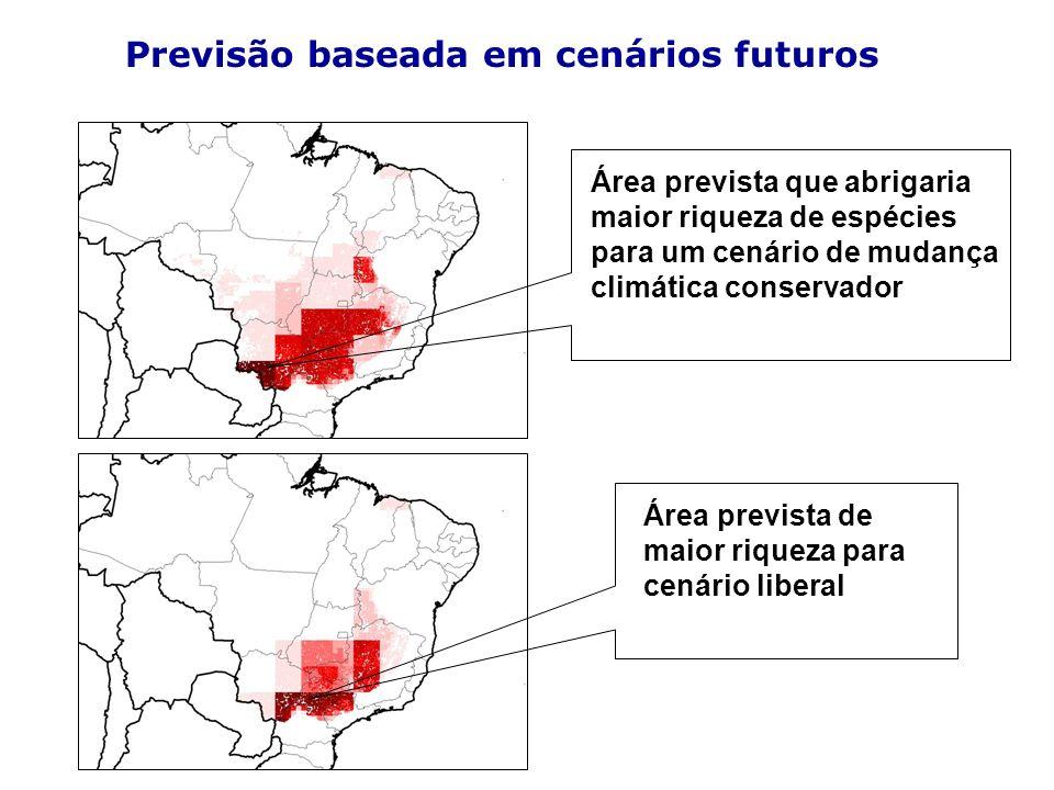 Área prevista que abrigaria maior riqueza de espécies para um cenário de mudança climática conservador Área prevista de maior riqueza para cenário lib