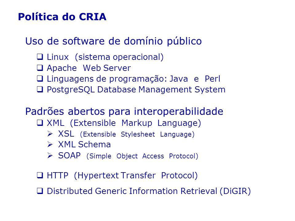 Política do CRIA Uso de software de domínio público Linux (sistema operacional) Apache Web Server Linguagens de programação: Java e Perl PostgreSQL Da