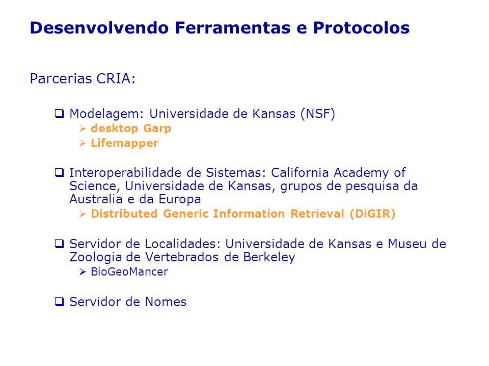 Desenvolvendo Ferramentas e Protocolos Parcerias CRIA: Modelagem: Universidade de Kansas (NSF) desktop Garp Lifemapper Interoperabilidade de Sistemas: