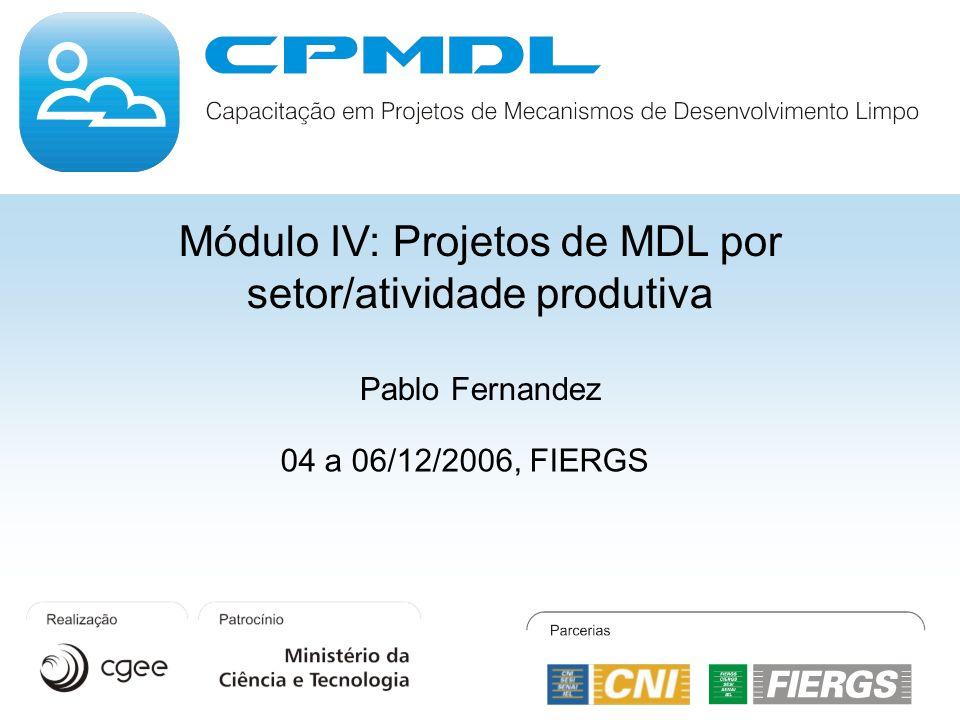 Módulo IV: Projetos de MDL por setor/atividade produtiva Pablo Fernandez 04 a 06/12/2006, FIERGS