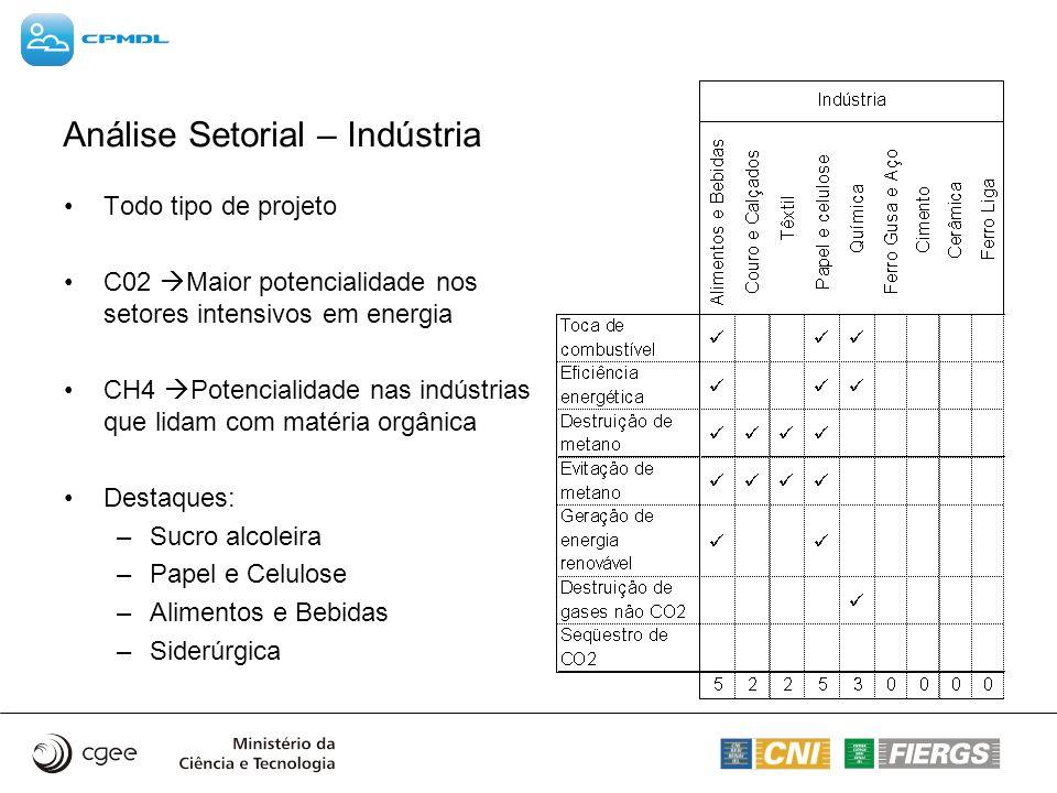 Análise Setorial – Indústria Todo tipo de projeto C02 Maior potencialidade nos setores intensivos em energia CH4 Potencialidade nas indústrias que lid