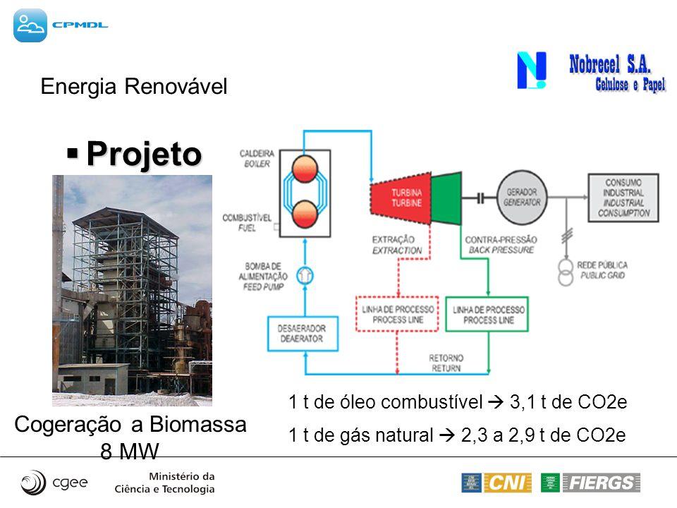 Energia Renovável Cogeração a Biomassa 8 MW Projeto Projeto 1 t de óleo combustível 3,1 t de CO2e 1 t de gás natural 2,3 a 2,9 t de CO2e