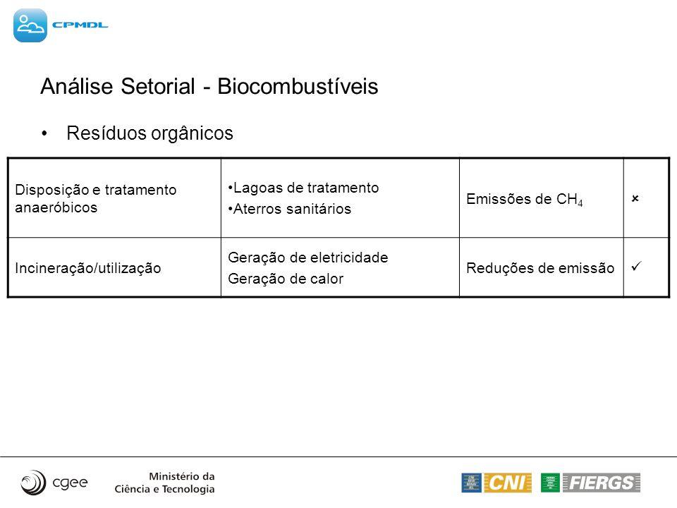 Análise Setorial - Biocombustíveis Resíduos orgânicos Disposição e tratamento anaeróbicos Lagoas de tratamento Aterros sanitários Emissões de CH 4 Inc