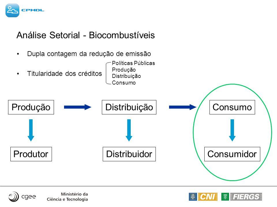 Análise Setorial - Biocombustíveis Dupla contagem da redução de emissão Titularidade dos créditos Políticas Públicas Produção Distribuição Consumo Pro