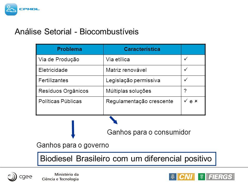 Análise Setorial - Biocombustíveis ProblemaCaracterística Via de ProduçãoVia etílica EletricidadeMatriz renovável FertilizantesLegislação permissiva R