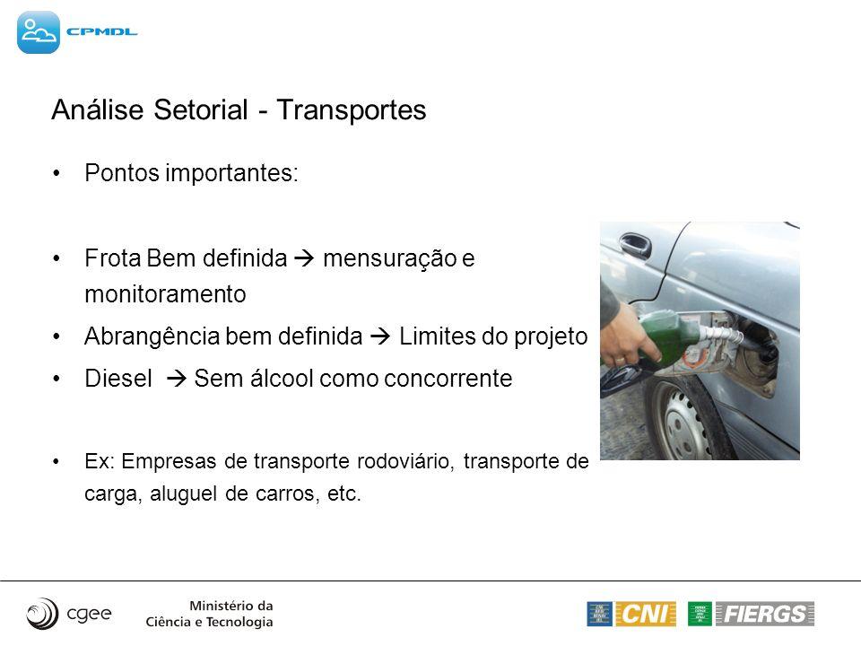 Análise Setorial - Transportes Pontos importantes: Frota Bem definida mensuração e monitoramento Abrangência bem definida Limites do projeto Diesel Se