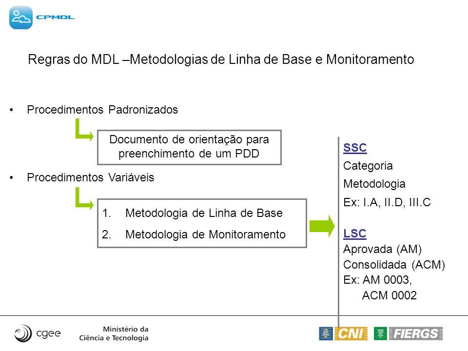 Regras do MDL –Metodologias de Linha de Base e Monitoramento Procedimentos Padronizados Procedimentos Variáveis Documento de orientação para preenchim