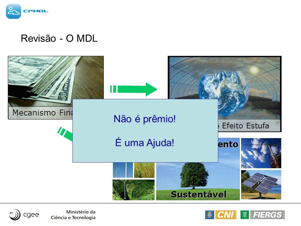 Revisão - O MDL Mitigação do Efeito Estufa Desenvolvimento Sustentável Sustentável Mecanismo Financeiro Não é prêmio! É uma Ajuda!