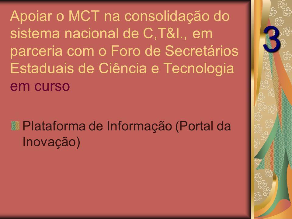 Apoiar o MCT na consolidação do sistema nacional de C,T&I., em parceria com o Foro de Secretários Estaduais de Ciência e Tecnologia em curso Plataforma de Informação (Portal da Inovação) 3
