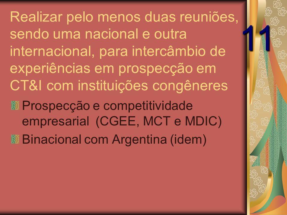 Realizar pelo menos duas reuniões, sendo uma nacional e outra internacional, para intercâmbio de experiências em prospecção em CT&I com instituições congêneres Prospecção e competitividade empresarial (CGEE, MCT e MDIC) Binacional com Argentina (idem) 11