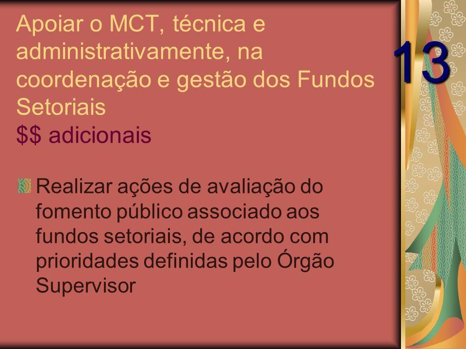 Apoiar o MCT, técnica e administrativamente, na coordenação e gestão dos Fundos Setoriais $$ adicionais Realizar ações de avaliação do fomento público associado aos fundos setoriais, de acordo com prioridades definidas pelo Órgão Supervisor 13