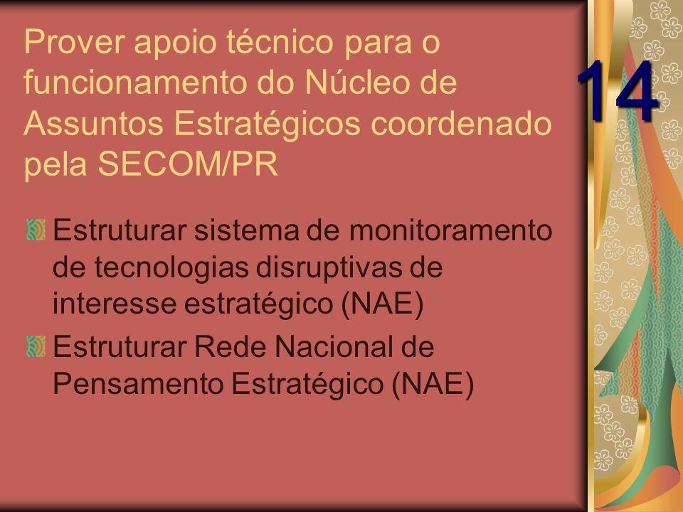 Prover apoio técnico para o funcionamento do Núcleo de Assuntos Estratégicos coordenado pela SECOM/PR Estruturar sistema de monitoramento de tecnologias disruptivas de interesse estratégico (NAE) Estruturar Rede Nacional de Pensamento Estratégico (NAE) 14