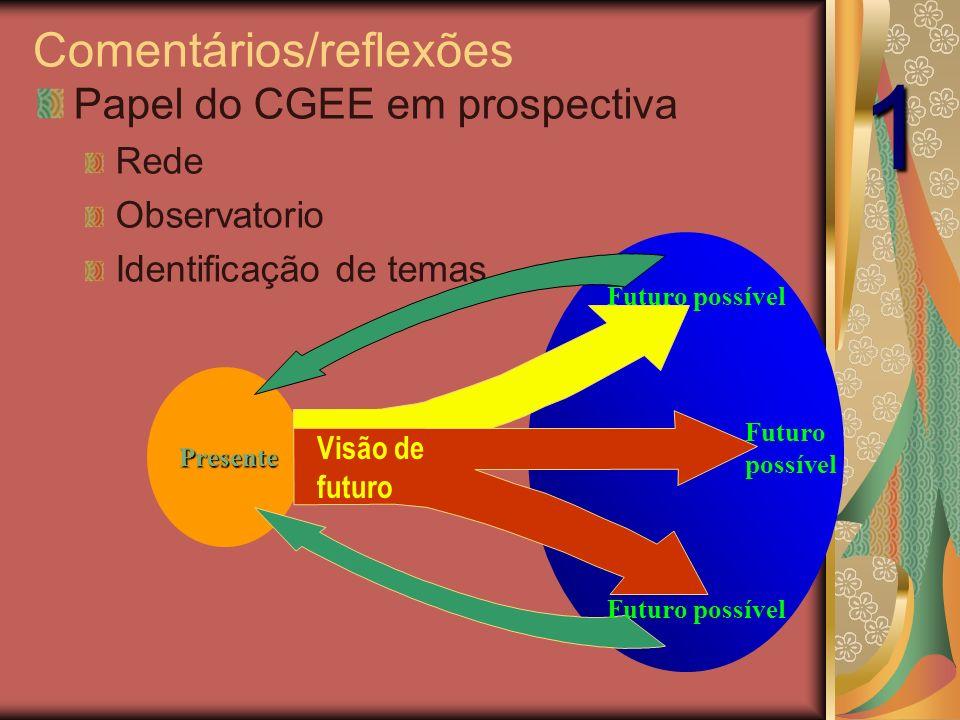 Comentários/reflexões Papel do CGEE em prospectiva Rede Observatorio Identificação de temas Futuro possível Visão de futuro Presente 1
