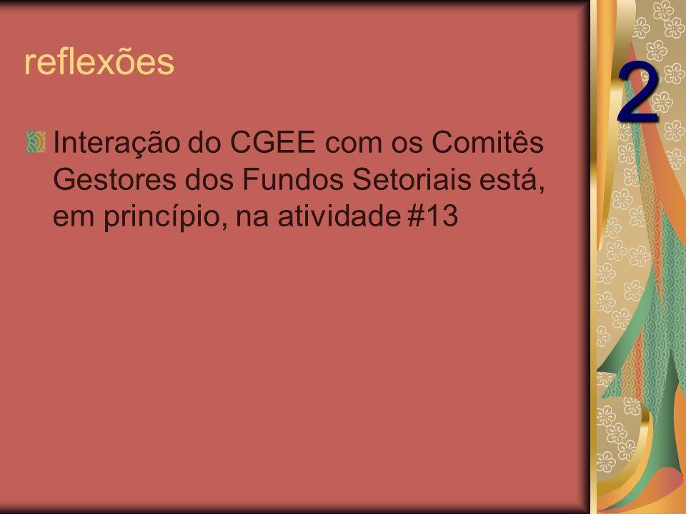 reflexões Interação do CGEE com os Comitês Gestores dos Fundos Setoriais está, em princípio, na atividade #13 2