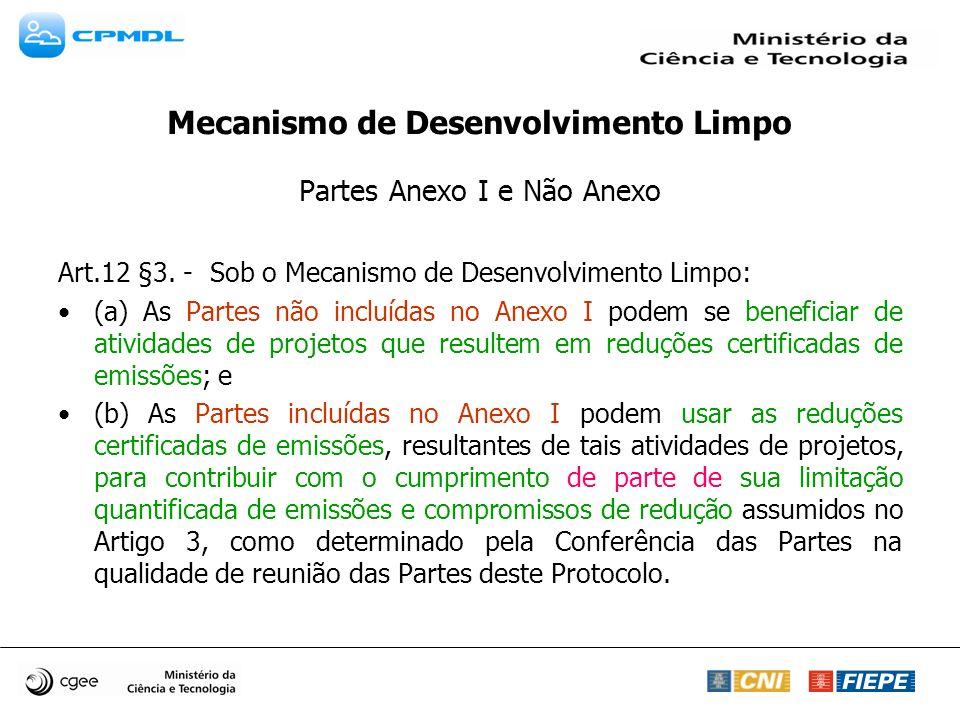 Mecanismo de Desenvolvimento Limpo Partes Anexo I e Não Anexo Art.12 §3. - Sob o Mecanismo de Desenvolvimento Limpo: (a) As Partes não incluídas no An