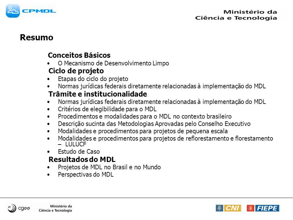 Conceitos Básicos O Mecanismo de Desenvolvimento Limpo Ciclo de projeto Etapas do ciclo do projeto Normas jurídicas federais diretamente relacionadas à implementação do MDL Trâmite e institucionalidade Normas jurídicas federais diretamente relacionadas à implementação do MDL Critérios de elegibilidade para o MDL Procedimentos e modalidades para o MDL no contexto brasileiro Descrição sucinta das Metodologias Aprovadas pelo Conselho Executivo Modalidades e procedimentos para projetos de pequena escala Modalidades e procedimentos para projetos de reflorestamento e florestamento – LULUCF Estudo de Caso Resultados do MDL Projetos de MDL no Brasil e no Mundo Perspectivas do MDL Resumo