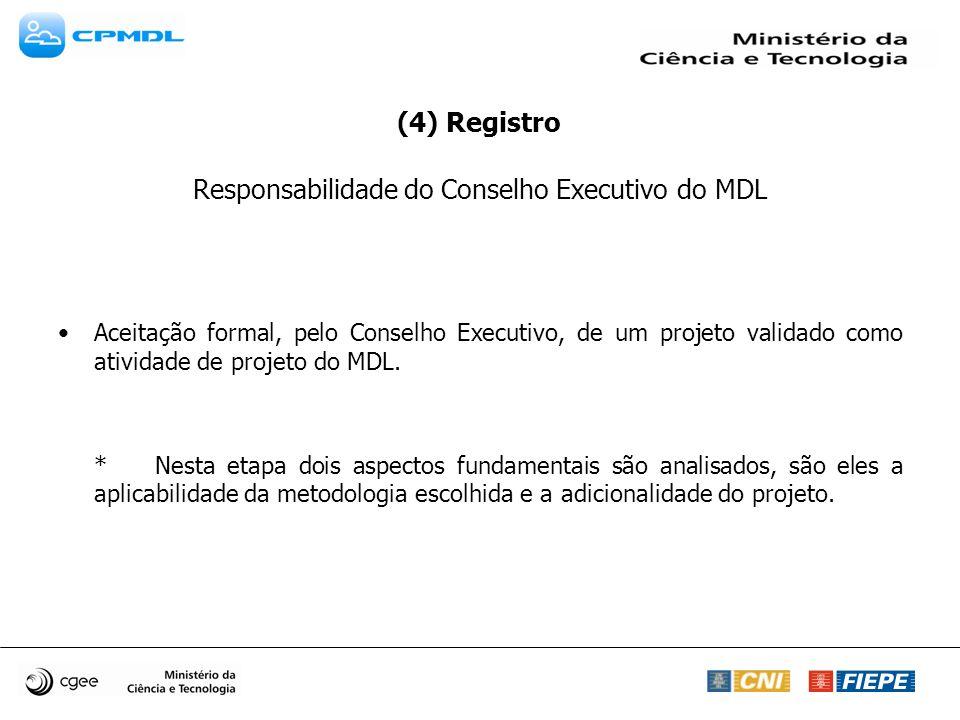 (4) Registro Responsabilidade do Conselho Executivo do MDL Aceitação formal, pelo Conselho Executivo, de um projeto validado como atividade de projeto do MDL.