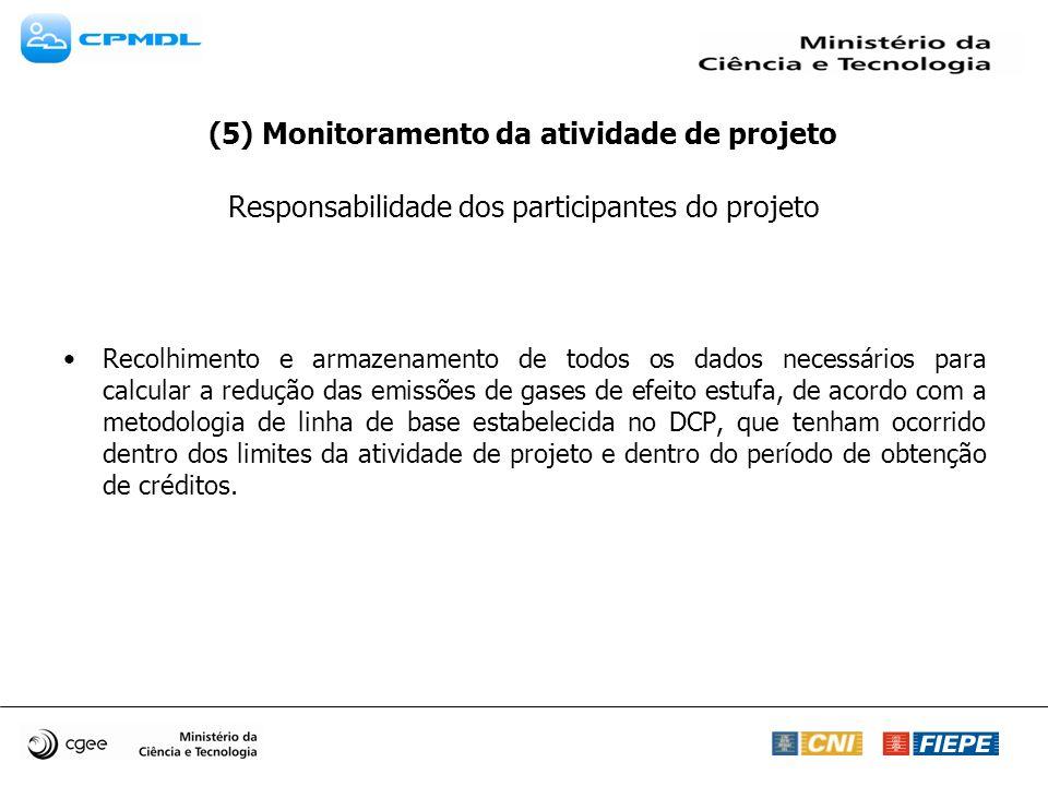 (5) Monitoramento da atividade de projeto Responsabilidade dos participantes do projeto Recolhimento e armazenamento de todos os dados necessários par