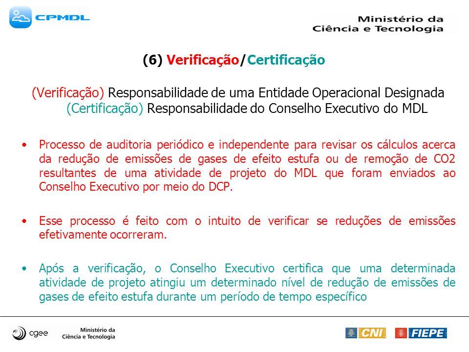 (6) Verificação/Certificação (Verificação) Responsabilidade de uma Entidade Operacional Designada (Certificação) Responsabilidade do Conselho Executivo do MDL Processo de auditoria periódico e independente para revisar os cálculos acerca da redução de emissões de gases de efeito estufa ou de remoção de CO2 resultantes de uma atividade de projeto do MDL que foram enviados ao Conselho Executivo por meio do DCP.