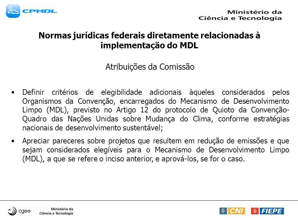 Atribuições da Comissão Definir critérios de elegibilidade adicionais àqueles considerados pelos Organismos da Convenção, encarregados do Mecanismo de
