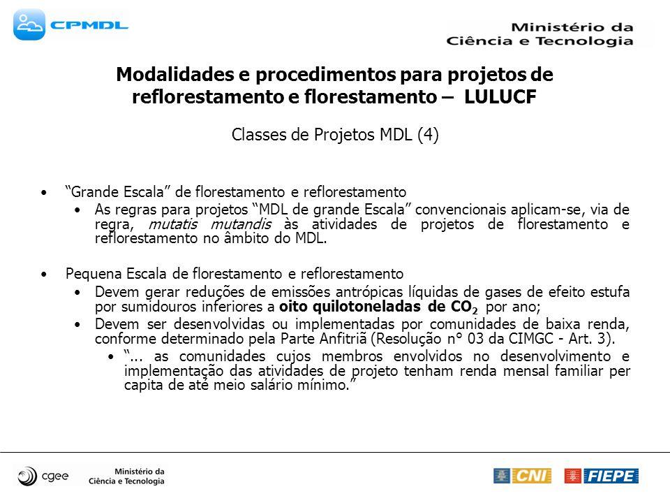 Classes de Projetos MDL (4) Grande Escala de florestamento e reflorestamento As regras para projetos MDL de grande Escala convencionais aplicam-se, vi