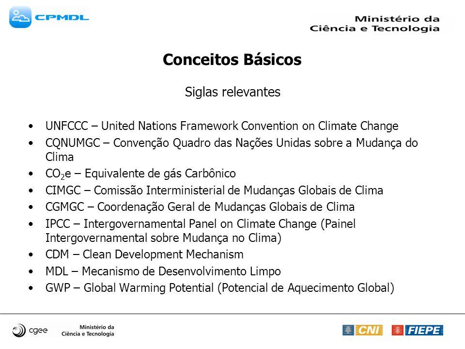 Siglas relevantes UNFCCC – United Nations Framework Convention on Climate Change CQNUMGC – Convenção Quadro das Nações Unidas sobre a Mudança do Clima CO 2 e – Equivalente de gás Carbônico CIMGC – Comissão Interministerial de Mudanças Globais de Clima CGMGC – Coordenação Geral de Mudanças Globais de Clima IPCC – Intergovernamental Panel on Climate Change (Painel Intergovernamental sobre Mudança no Clima) CDM – Clean Development Mechanism MDL – Mecanismo de Desenvolvimento Limpo GWP – Global Warming Potential (Potencial de Aquecimento Global)
