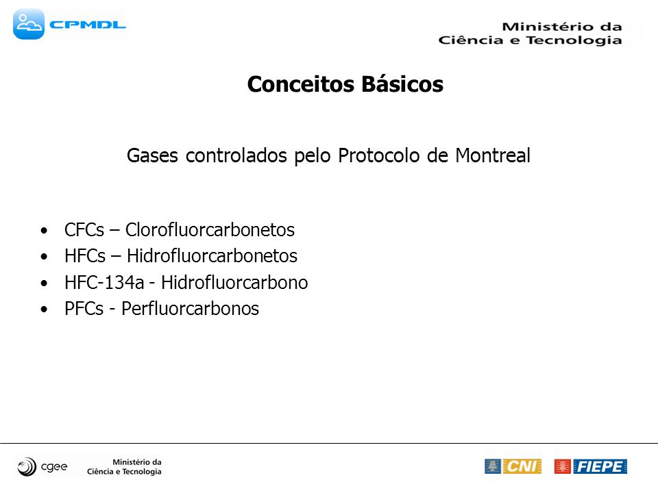 Gases controlados pelo Protocolo de Montreal CFCs – Clorofluorcarbonetos HFCs – Hidrofluorcarbonetos HFC-134a - Hidrofluorcarbono PFCs - Perfluorcarbo