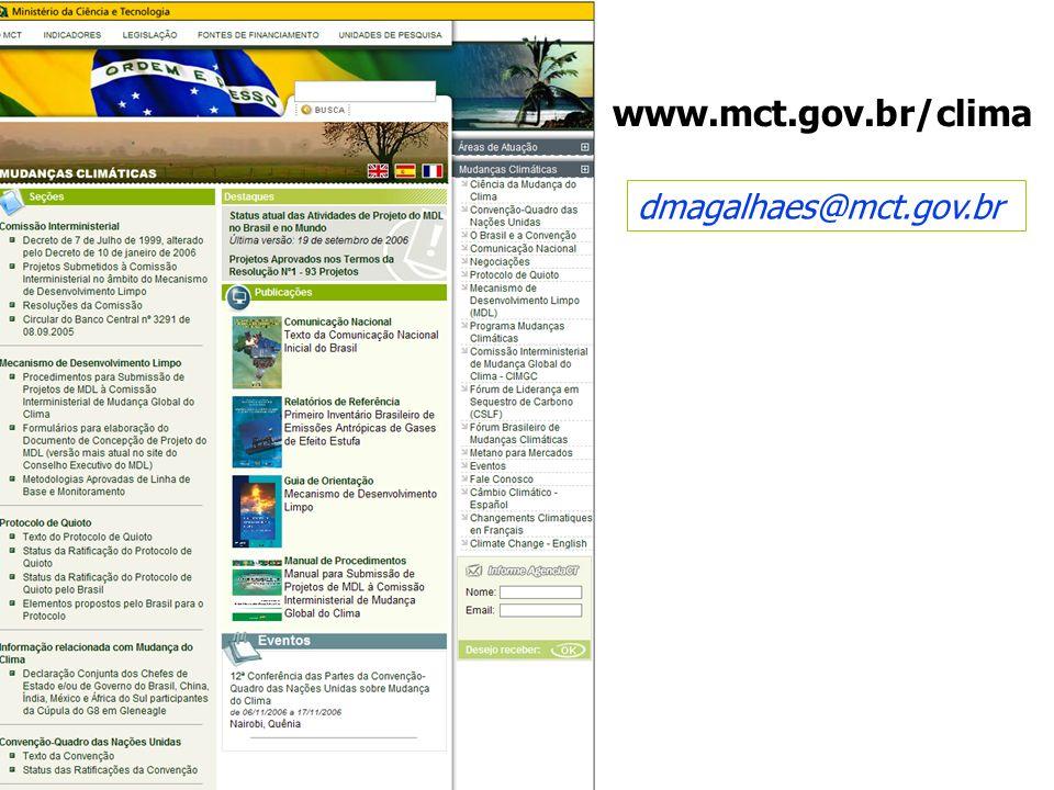 dmagalhaes@mct.gov.br www.mct.gov.br/clima