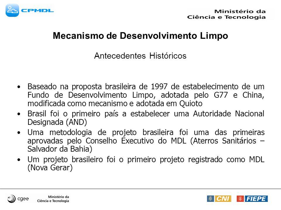 Mecanismo de Desenvolvimento Limpo Antecedentes Históricos Baseado na proposta brasileira de 1997 de estabelecimento de um Fundo de Desenvolvimento Limpo, adotada pelo G77 e China, modificada como mecanismo e adotada em Quioto Brasil foi o primeiro país a estabelecer uma Autoridade Nacional Designada (AND) Uma metodologia de projeto brasileira foi uma das primeiras aprovadas pelo Conselho Executivo do MDL (Aterros Sanitários – Salvador da Bahia) Um projeto brasileiro foi o primeiro projeto registrado como MDL (Nova Gerar)
