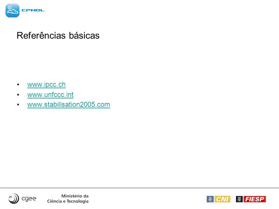 Referências básicas www.ipcc.ch www.unfccc.int www.stabilisation2005.com